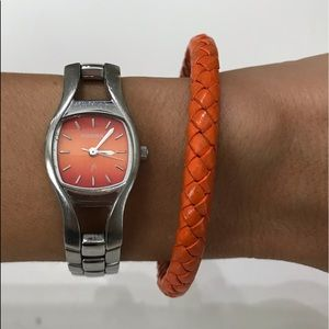 Fossil watch and orange magnetic braided bracelet